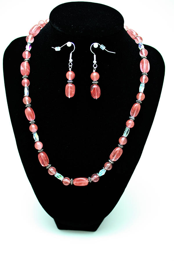 Jewelry Jewelry - 3570 Cherry Quartz Czech Glass Set by Teresa Mucha