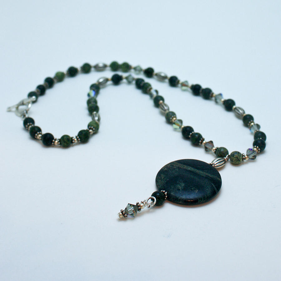 Handmade Jewelry - 3577 Kambaba And Green Lace Jasper Necklace by Teresa Mucha