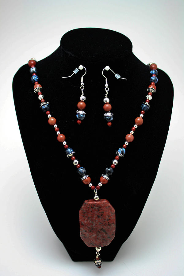 Handmade Jewelry - 3578 Jasper And Agate Long Necklace And Earrings Set by Teresa Mucha