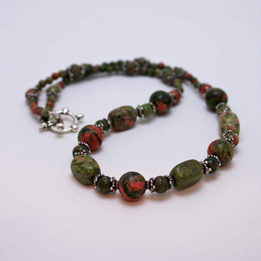 Handmade Jewelry - 3579 Unakite Necklace  by Teresa Mucha