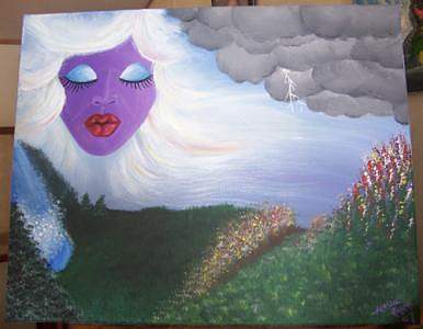 Purple Painting - Woman Of The Wind by Hollie Leffel
