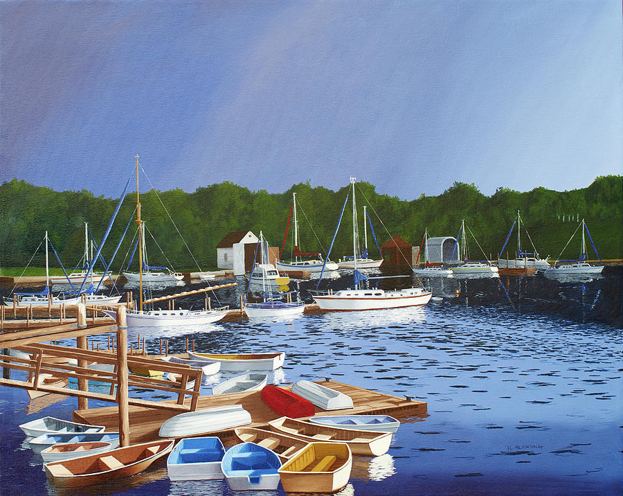 Waterscape Painting - 38 Boats by Hugh Blanding