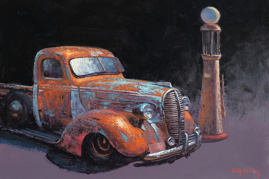 Vintage Cars Painting - 38 Fat Fender Ford by Cody DeLong