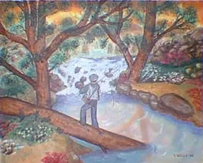 Fishing The Sunny Rivers Painting by Tanna Lee Wells