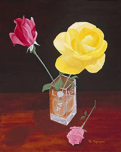Roses Painting - Roses For Love by Thi Nguyen