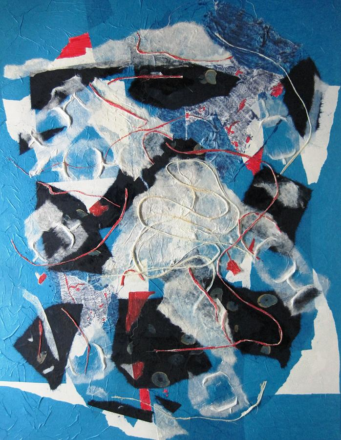 Abstract Painting - 3d Abstract On Blue by David Raderstorf