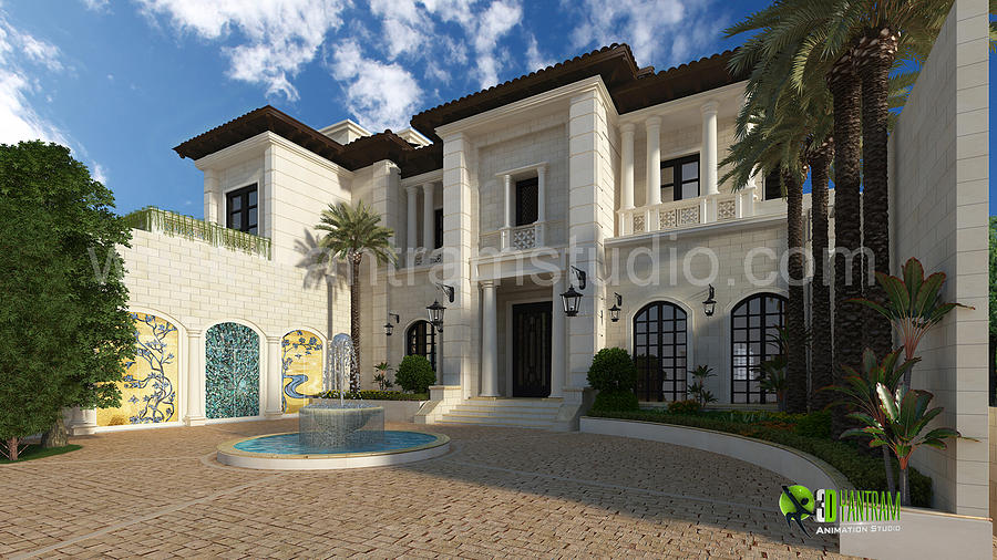 3d Exterior Design Rendering For Modern Home Digital Art By