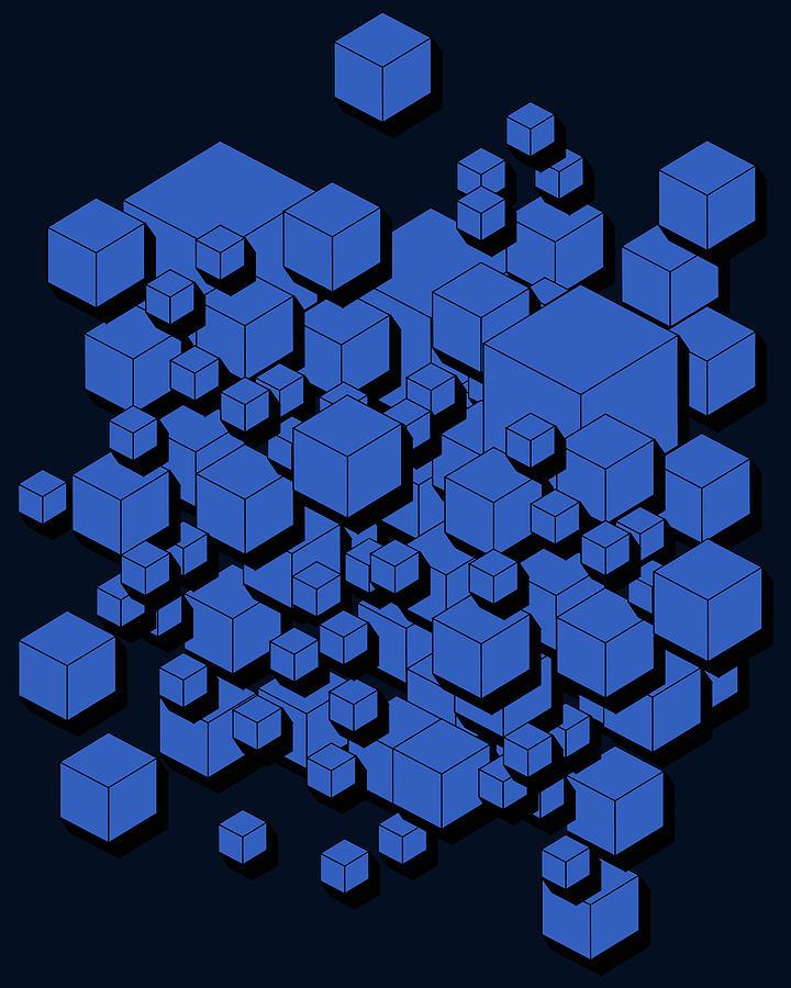 3d Futuristic Cubes Digital Art