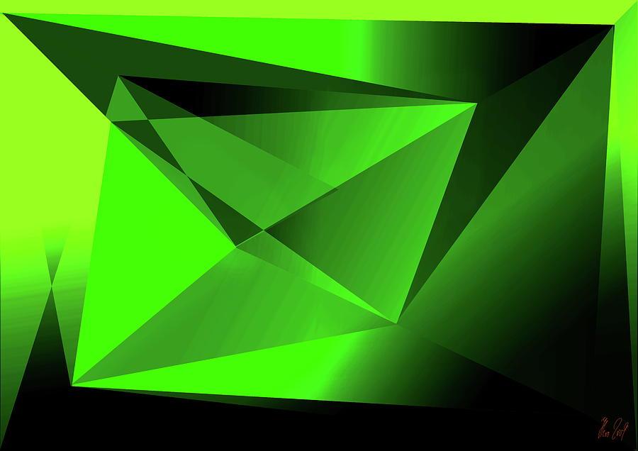 Green Digital Art - 3d-greenpyramids by Helmut Rottler