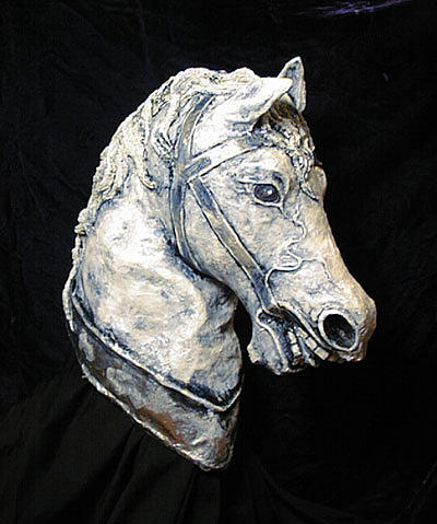 Papier Mache Sculpture - 3d Horse Head Sculpture by Patience