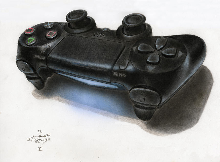 Playstation Drawing - 3D PS4 controller drawing by Jonathan Anderson