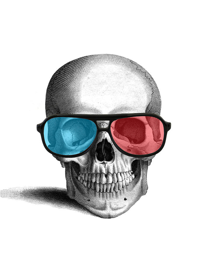 3d Glasses Digital Art - skull with 3D glasses by Madame Memento