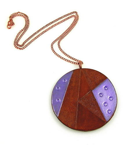 Geometric Jewelry - 3fine Design Geometric Leather Pendant Necklace 2 by Tracy Behrends