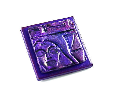 Brooch Mixed Media - 3fine Design Handcrafted Leather -n- Polymer Clay Brooch - Purple by Tracy Behrends