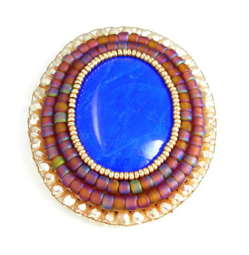 Brooch Jewelry - 3fine Design Howlite Beaded Cabochon by Tracy Behrends