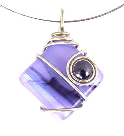 Mod Jewelry - 3fine Design Lavender Fused Glass -n- Hemalyke Choker by Tracy Behrends