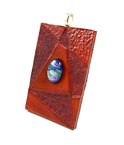 Pendant Jewelry - 3fine Design Leather -n- Dichroic Glass Pendant 3 by Tracy Behrends