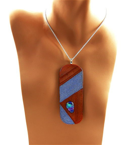 Necklace Jewelry - 3fine Design Leather -n- Dichroic Glass Pendant 4 by Tracy Behrends