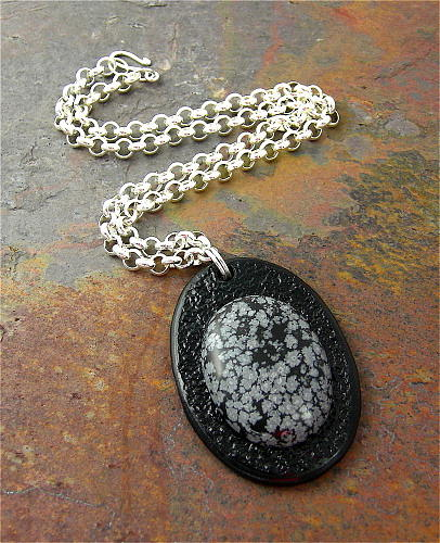 Leathercraft Jewelry - 3fine Design Let It Snow Necklace by Tracy Behrends