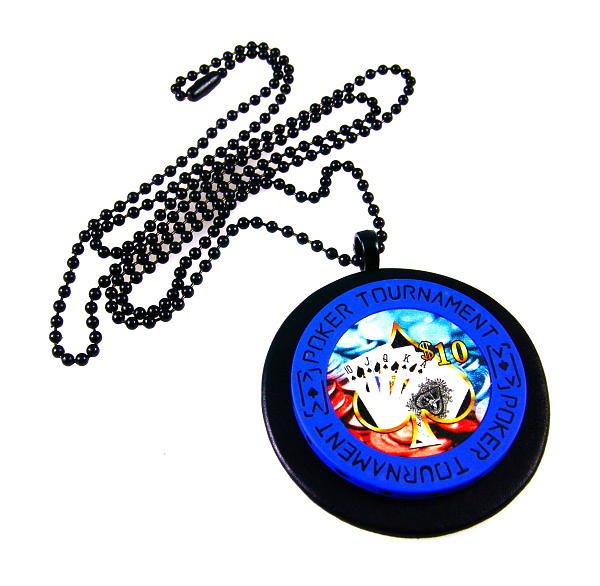 Poker Chip Mixed Media - 3fine Design Mens Poker Chip Necklace by Tracy Behrends