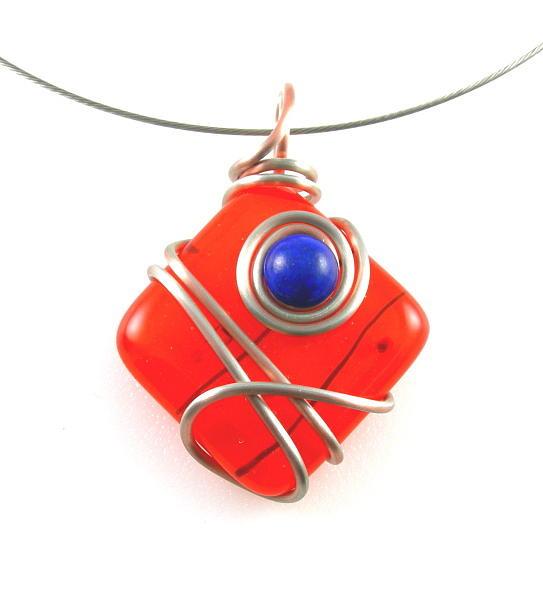 Blue Jewelry - 3fine Design Orange Fused Glass -n- Lapis Lazuli Choker by Tracy Behrends