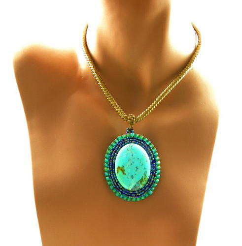 Pendant Jewelry - 3fine Design Turquoise Beaded Cabochon by Tracy Behrends