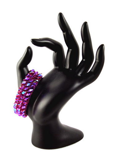 Bead Weaving Jewelry - 3fine Design Wine -n- Roses Cuff by Tracy Behrends