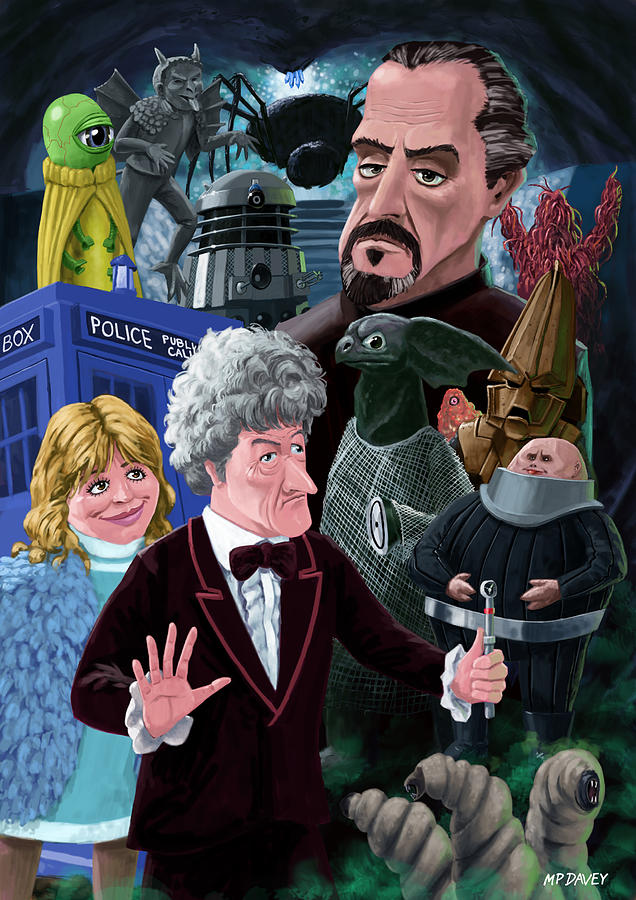 Doctor Who Digital Art - 3rd Dr Who And Friends by Martin Davey