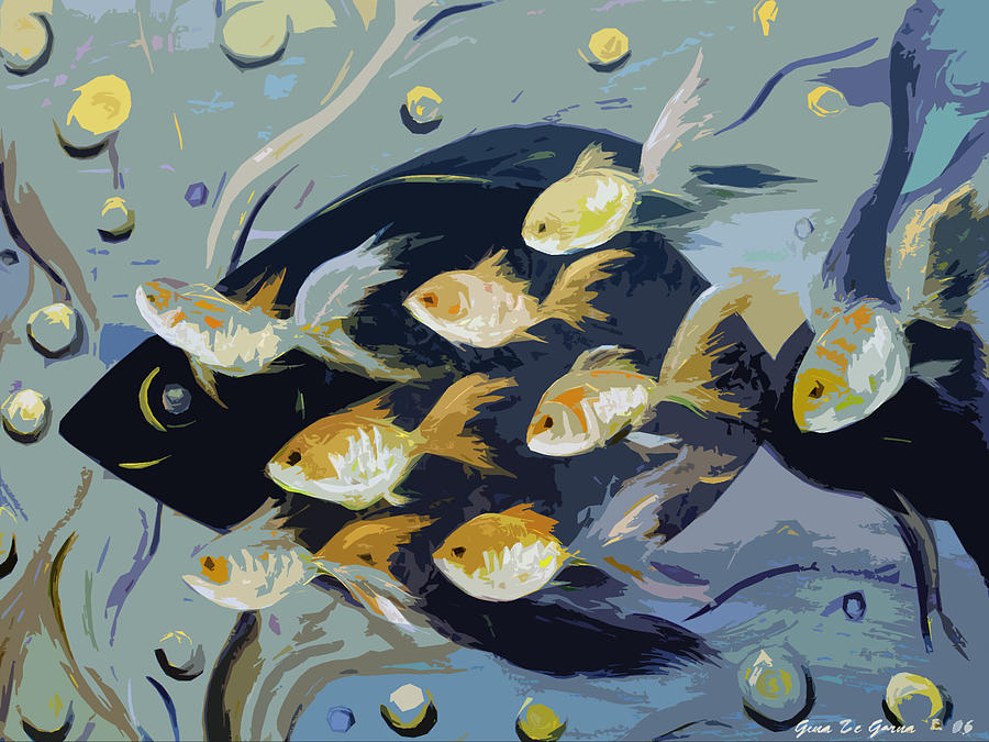 Fish Painting - 8 Gold Fish by Gina De Gorna