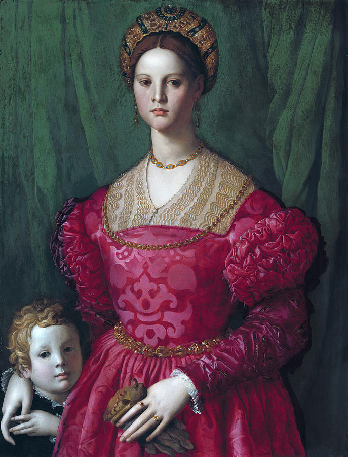 Agnolo Bronzino Painting - A Young Woman And Her Little Boy by Agnolo Bronzino