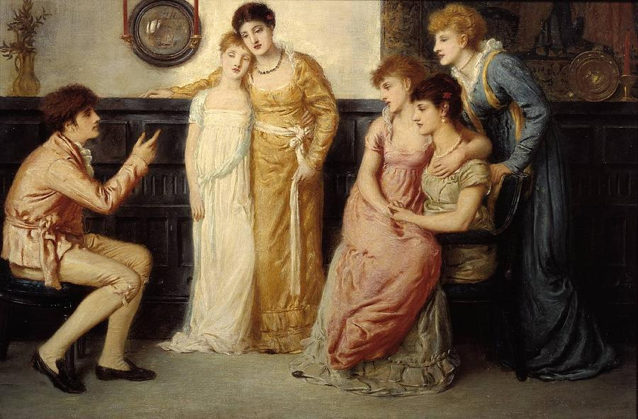 Man Painting - A Youth Relating Tales To Ladies by Simeon Solomon