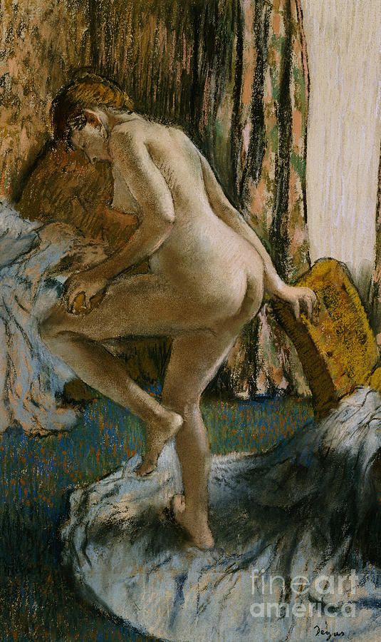 Nude Pastel - After The Bath by Edgar Degas