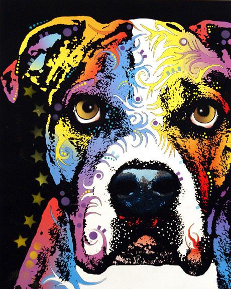 dean Russo Painting Dog Dogs Pet Pets american Bulldog american Bull Dog Portrait Graffiti pop Art Pop American Bulldog bull Dog Akc Bully Bullie Doggy Doggies Painting - American Bulldog by Dean Russo