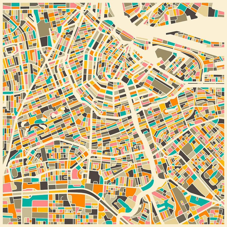 Amsterdam Map Digital Art by Jazzberry Blue