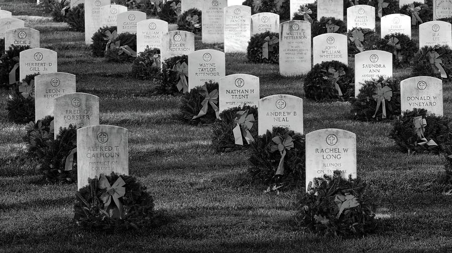 Washington Photograph - Arlington National Cemetery At Christmas by Craig Fildes