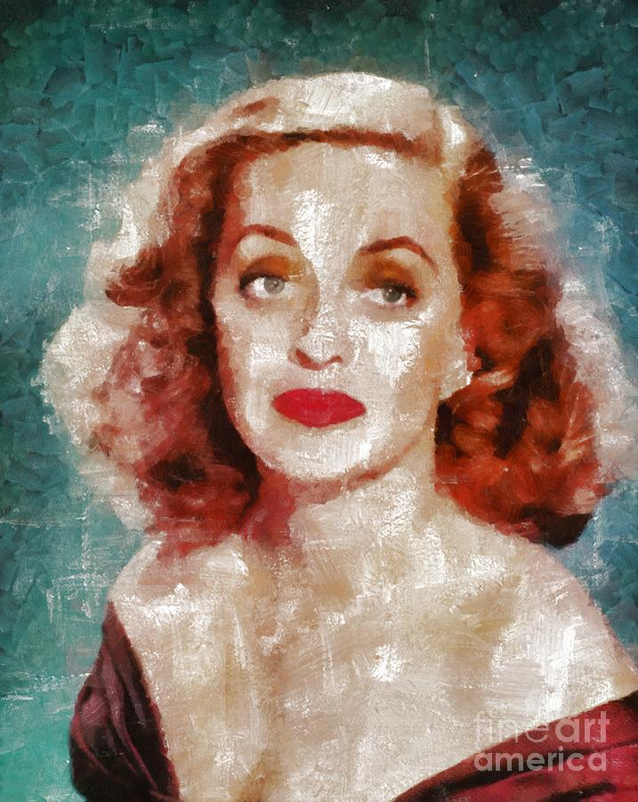 Hollywood Painting - Bette Davis Vintage Hollywood Actress by Mary Bassett