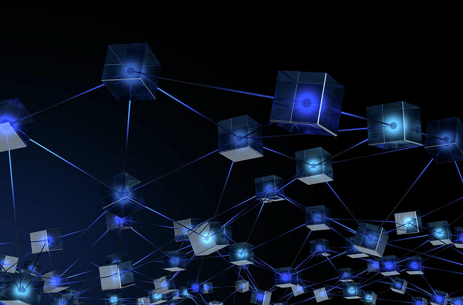 Cryptography Digital Art - Blockchain Data Network by Allan Swart