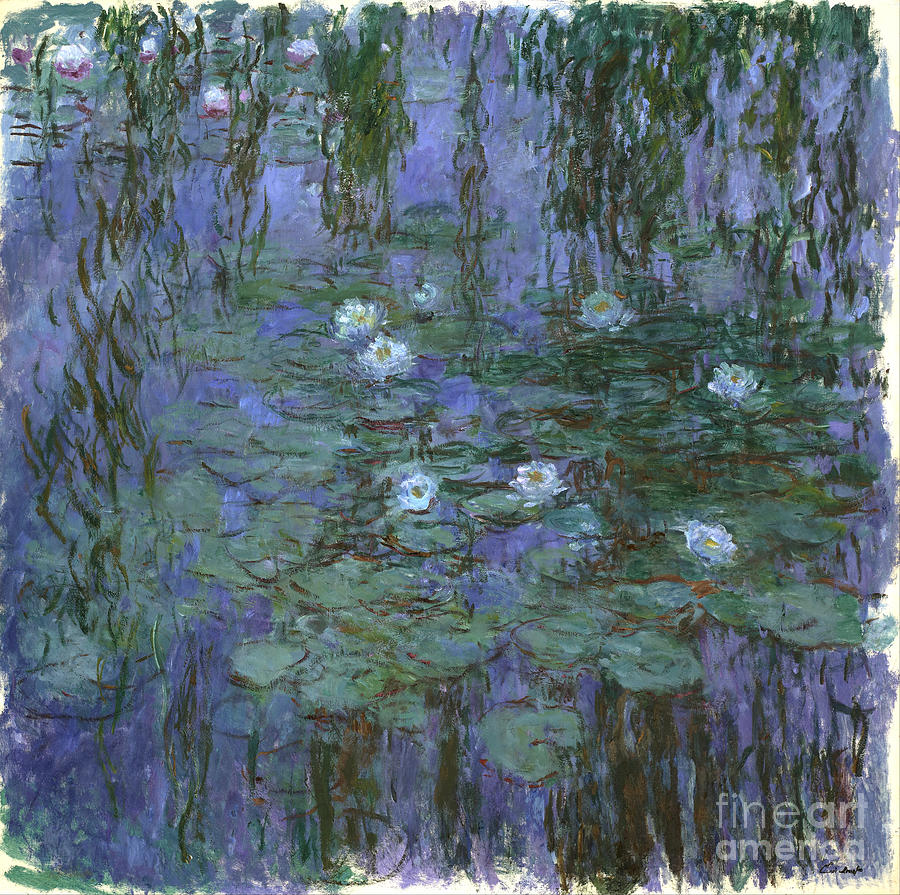 Claude Painting - Blue Water Lilies by Claude Monet