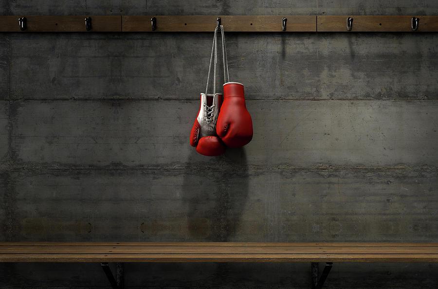 Gloves Digital Art - Boxing Gloves Hanging In Change Room 4 by Allan Swart