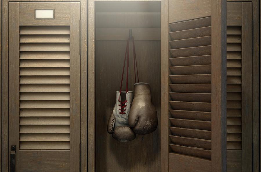 Locker Digital Art - Boxing Gloves In Vintage Locker 4 by Allan Swart