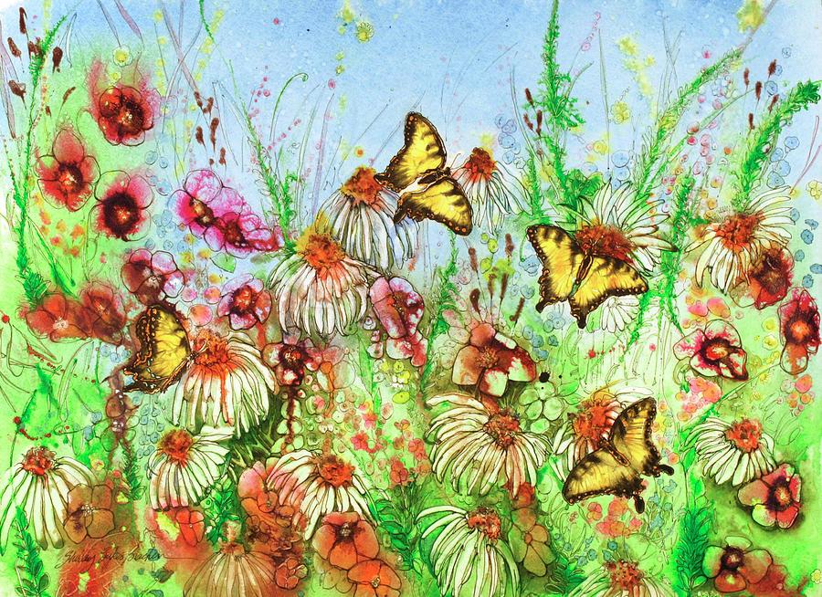 4 Butterflies 22x30 Painting