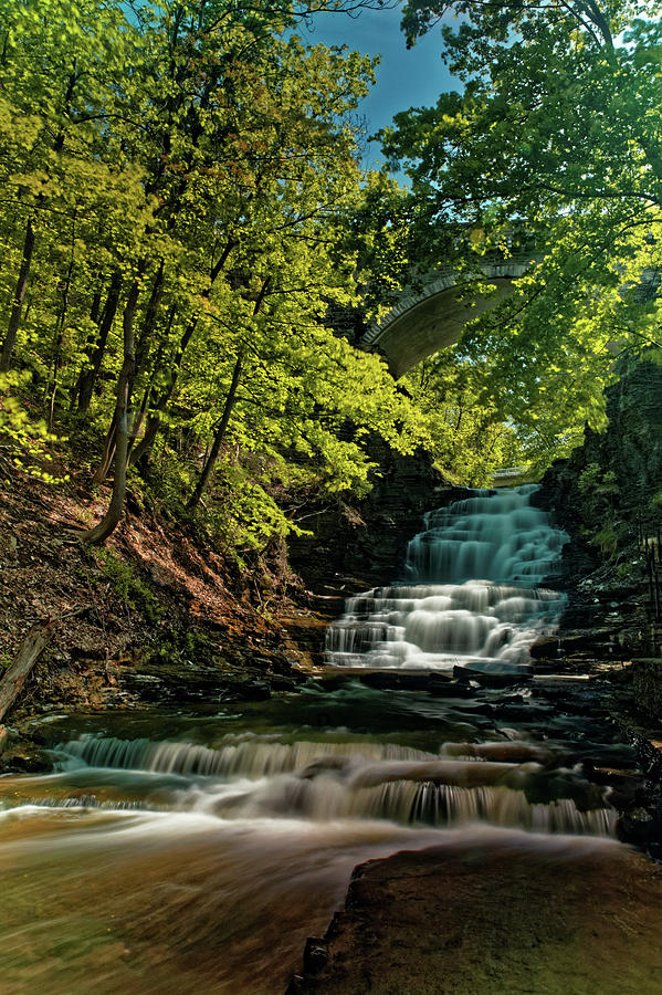 Ithaca Photograph - Cascadilla Gorge Falls by Doolittle Photography and Art