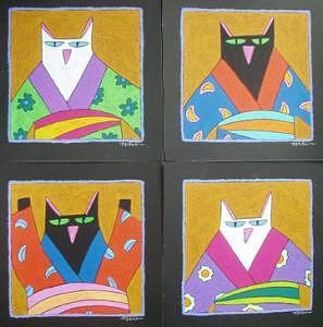 4 Cats 4 Kimonos Painting by Nancy  Coffelt