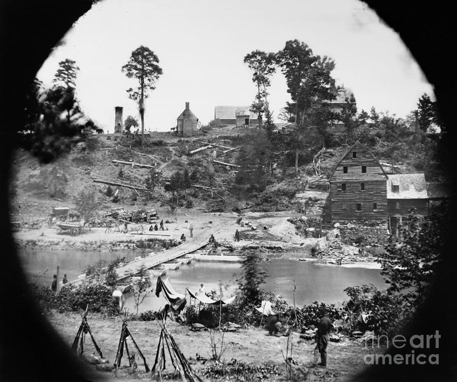 1864 Photograph - Civil War: Pontoon Bridge by Granger