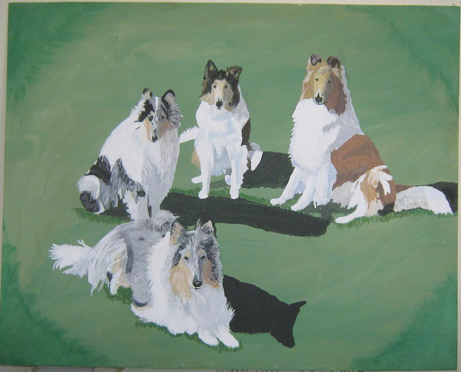 Dogs Painting - 4 Collies by Wendy Jackson
