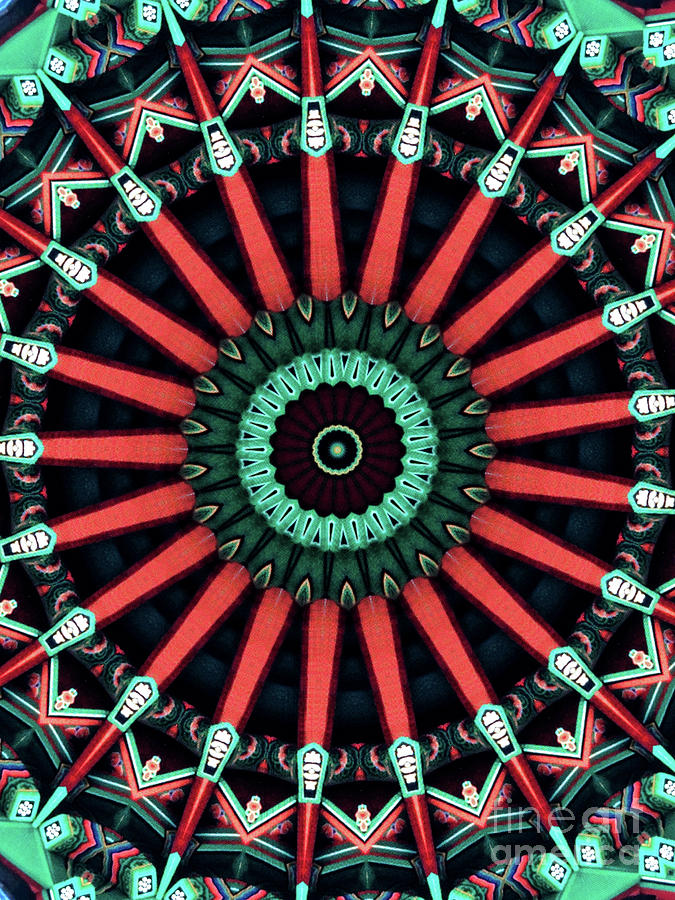 Abstract Digital Art - Colorful Kaleidoscope Incorporating Aspects Of Asian Architectur by Amy Cicconi