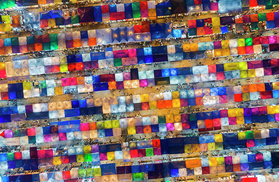 Colourful Night Market aerial view by Pradeep Raja PRINTS