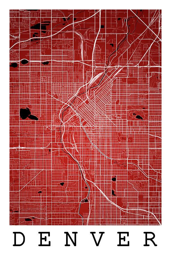 Colorado Map Art.Denver Street Map Denver Colorado Usa Road Map Art On Color