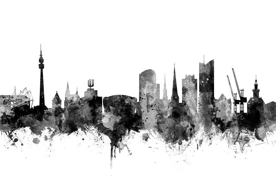Dortmund Digital Art - Dortmund Germany Skyline by Michael Tompsett