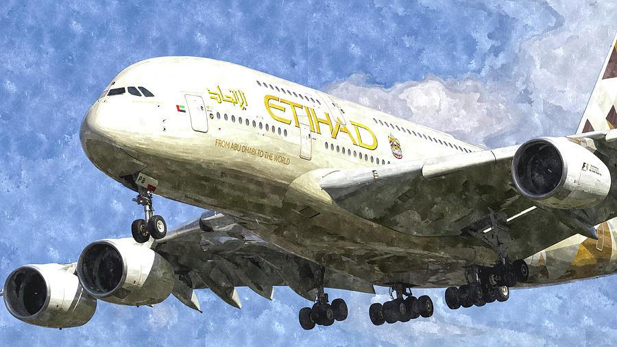 Etihad Photograph - Etihad Airlines Airbus A380 Art by David Pyatt